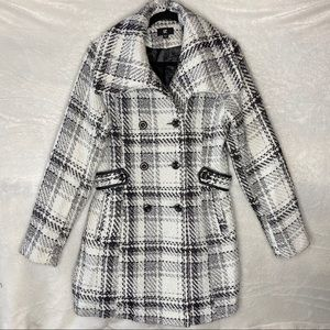 IZ Byer Double Breasted Plaid Peacoat Juniors
